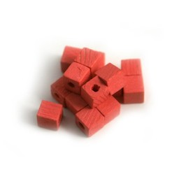Cuenta DQ Wooden bead 4x4mm pink square