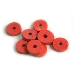 Cuenta DQ 10x2mm wooden bead slice rose
