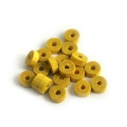 Cuenta DQ Wooden bead 5x2mm yellow disk