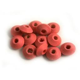 Cuenta DQ 8x4mm houten kraal linzen d. roze