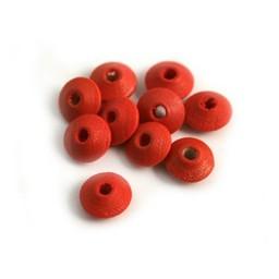 Cuenta DQ 8x4mm houten kraal linzen rood