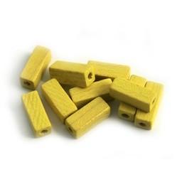 Cuenta DQ 4x4x10mm houten kraal staafje geel