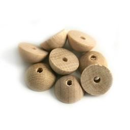 Cuenta DQ 12x6mm wooden bead half round white
