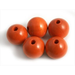 Cuenta DQ 20mm wooden bead orange round