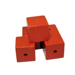 Cuenta DQ 19mm houten kraal vierkant oranje