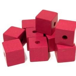 Cuenta DQ 14mm square wood bead fuchsia
