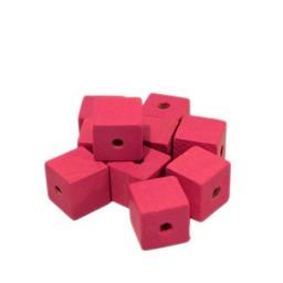 Cuenta DQ 10x10mm Holzperle rosa Quadrat