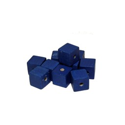 Cuenta DQ 6x6mm square blue wooden bead