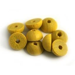 Cuenta DQ 12x6mm houten kraal half rond geel