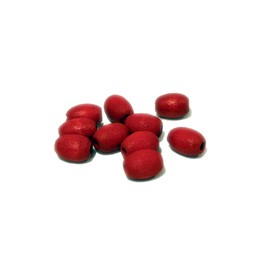 Cuenta DQ 5x7mm oval red wooden bead