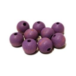Cuenta DQ 10mm wooden bead purple mat around