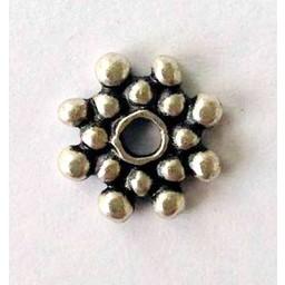 jolie 3D-Abstandshalter doppelte Reihe von Perlen 8mm Silber pro Stuck