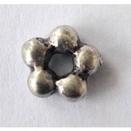 jolie 3D-Abstandshalter Doppelreihe von kleinen Perlen 7mm Silber pro Stuck