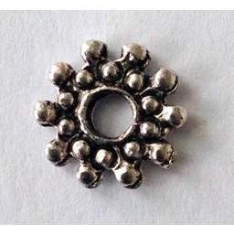 jolie 3D-Abstandshalter doppelte Reihe von Perlen 8mm mini Silber pro Stuck