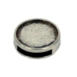 Cuenta DQ Metallic Ledereinlage 16mm slide rund 13mm Silber offen