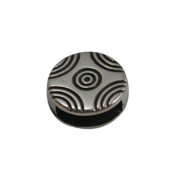 jolie Leerschuiver rond met boogjes patroon 10mm zilverkleur