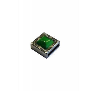 Cuenta DQ Leerschuiver 10mm vierkant met kleur inleg gras groen