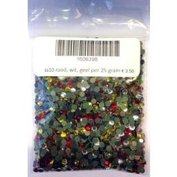 Niiniix Oeteldonksche mix ss10 hotfix steentjes rood wit geel per 25 gram