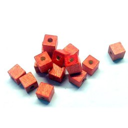Cuenta DQ 6mm wood bead square light red