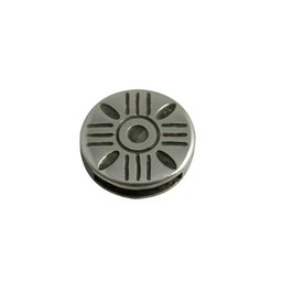 Cuenta DQ Metaal leerschuiver streepjes 13mm rond zilverkleur