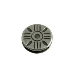 Cuenta DQ Metallic Leder Schieber Striche um 13 mm Silber