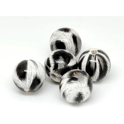 Cuenta DQ 20mm Holzperle rund Druck schwarz-weiß-grau
