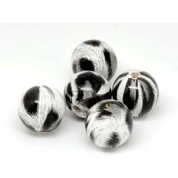 Cuenta DQ 20mm wooden bead round print black-white-gray