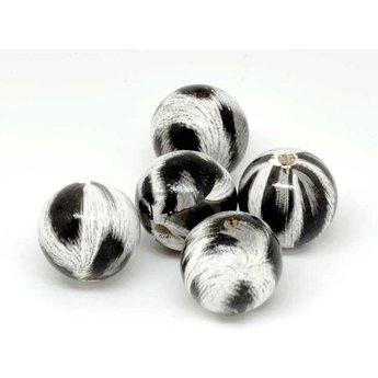 Cuenta DQ 20mm houten kraal rond print zwart-wit-grijs