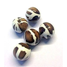Cuenta DQ 20mm wooden bead round brown-white print