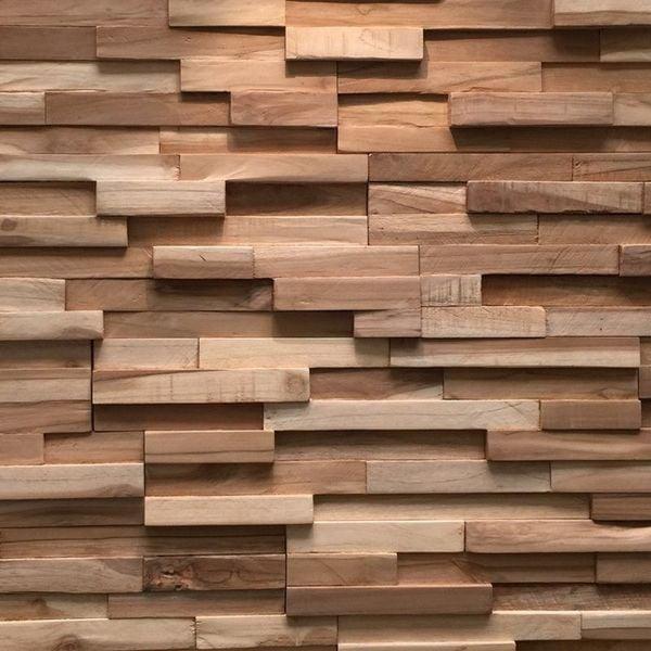 Holzverblender UltraWood Teak Firenze 3D Wood Panel