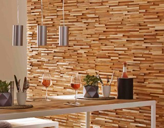 Houtstrips - recycled teak houtstrips zijn de nieuwste trend in wanddecoratie hout.