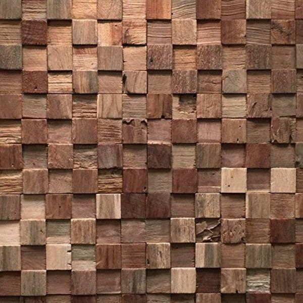 Holzverblender UltraWood Teak Square 3D Wood Panel  kein FSC !