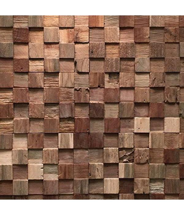 Rebel of Styles Holzverblender UltraWood Teak Square 3D Wood Panel  kein FSC !