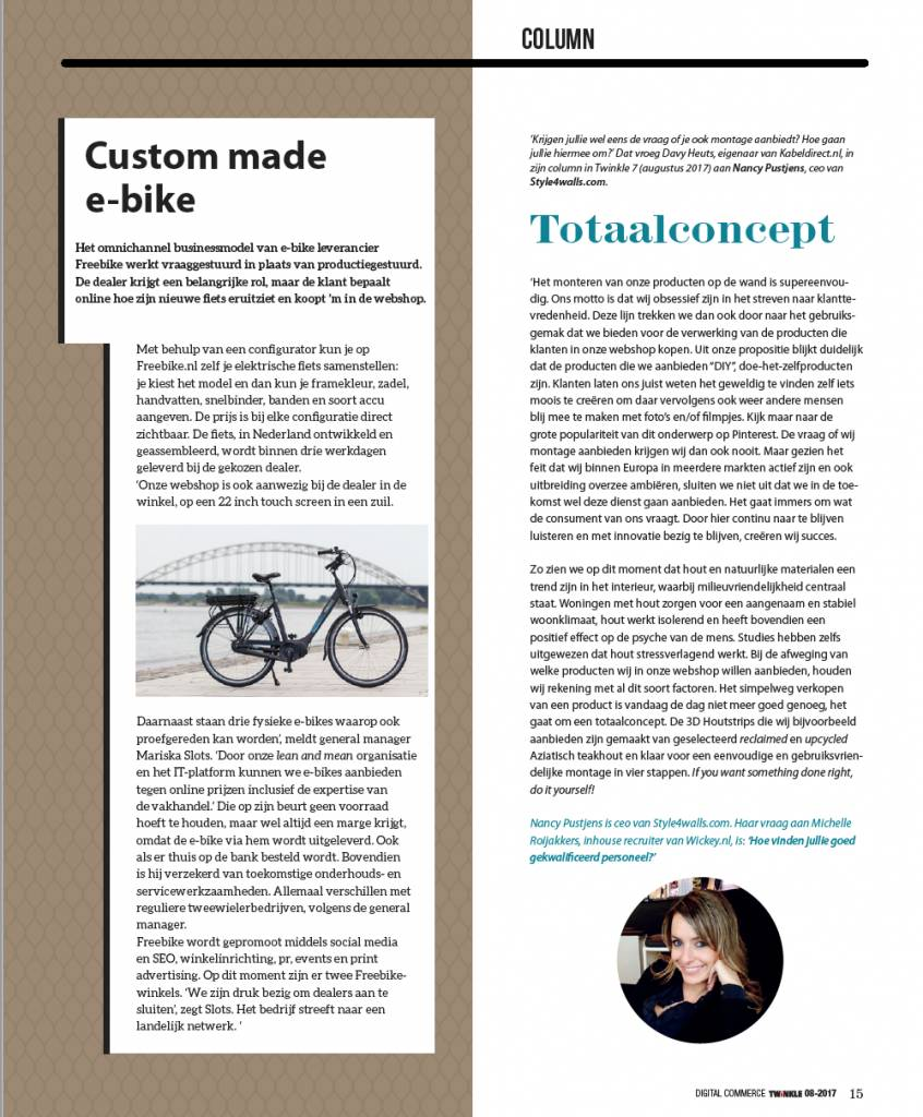 Column in Twinkle Magazin about the ease in use of our wall covering products