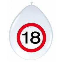 Ballonnen 18 Jaar Verkeersbord 30cm 8 stuks
