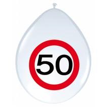 Ballonnen 50 Jaar Verkeersbord 30cm 8 stuks