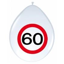 Ballonnen 60 Jaar Verkeersbord 30cm 8 stuks