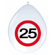 Ballonnen 25 Jaar Verkeersbord 30cm 8 stuks (D8-6-3)