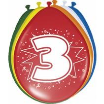 Ballonnen 3 Jaar 30cm 8 stuks (D17-5-7)