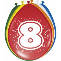 Ballonnen 8 Jaar 30cm 8 stuks (D14-5-3)