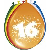 Ballonnen 16 Jaar 30cm 8 stuks