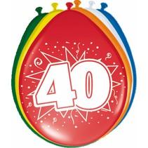 Ballonnen 40 Jaar 30cm 8 stuks (D6-5-4)