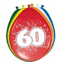 Ballonnen 60 Jaar 30cm 8 stuks