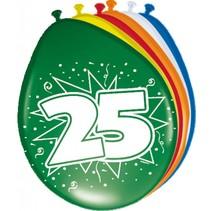 Ballonnen 25 Jaar 30cm 8 stuks