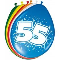 Ballonnen 55 Jaar 30cm 8 stuks (D5-6-4)