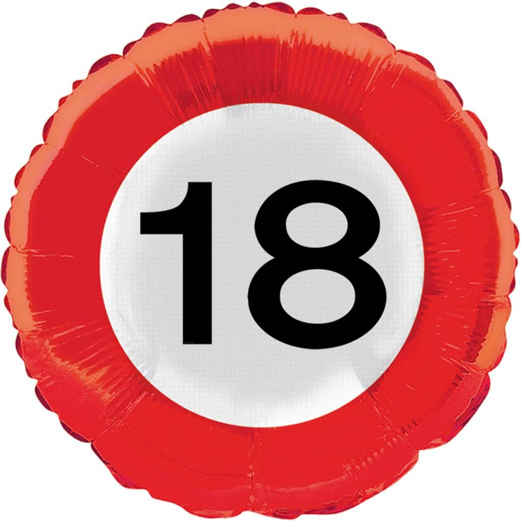 18 jaar ballon Helium Ballon 18 Jaar Verkeersbord 43cm leeg kopen? | Prohap.com 18 jaar ballon