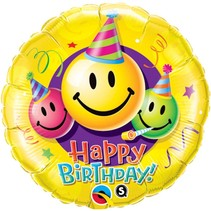 Helium Ballon Happy Birthday Smiley 46cm leeg of gevuld