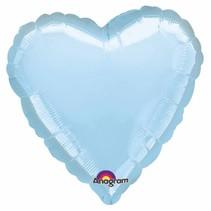 Helium Ballon Hart Lichtblauw 45cm leeg of gevuld