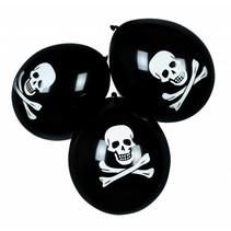Piraten Ballonnen Doodshoofd 25cm 6 stuks (E9-5-2)