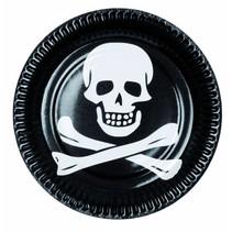 Piraten Borden Doodshoofd 23cm 6 stuks (E9-5-4)